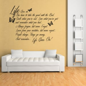 Life Goes On Wall Sticker Quote Wall Decal Art