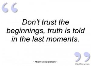Don't trust the beginnings