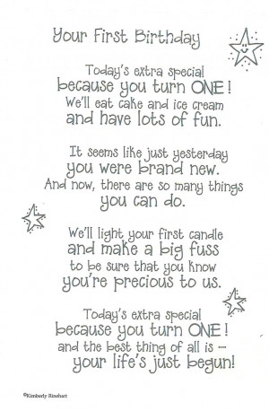 Dinglefoot's Scrapbooking - First Birthday - Poem For A Page Sticker ...