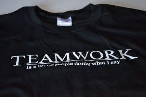 Teamwork t shirt men funny work career shirt black screenprint boss ...