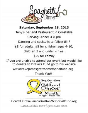 Spaghetti Dinner Fundraiser for Childhood Cancer Awareness