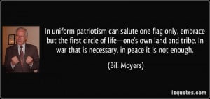 In uniform patriotism can salute one flag only, embrace but the first ...