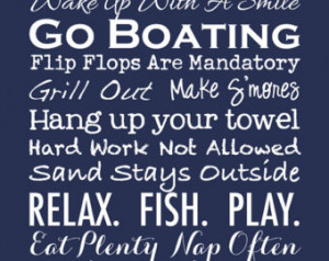 Hostess Gift - Subway Art Lake House Family Rules Poster Print - Beach ...