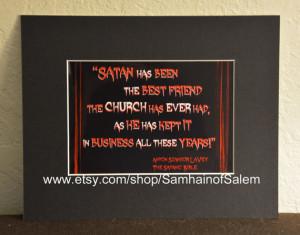 Anton Lavey Satanic Bible Framed Quote Art