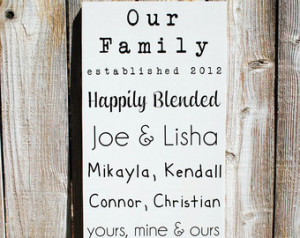 ... Names Established date sign with family names Blended Family Sign