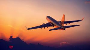 Airplane flight sunset Wallpaper in 1366x768
