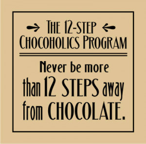 You are here: Home / Quotes & Phrases / Humor / 12 Step Chocoholic's ...