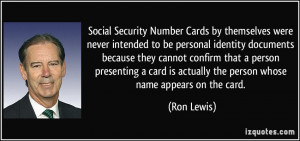 Number Cards by themselves were never intended to be personal identity ...