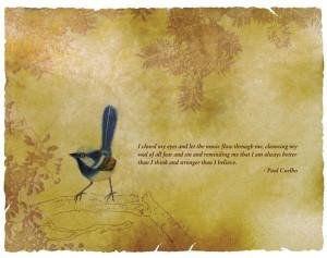 Little Blue Bird Quote   Photoshop, photography and colour pencils