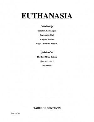 EUTHANASIA Submitted by: Gabutan, Karl Angelo Raymundo, Mark ...
