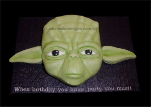 Yoda Birthday Cake by CustomCakeDesigns