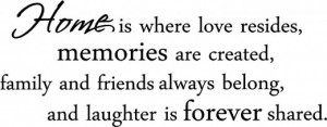 ... Where Love Resides, Memories are Created....Family Memory Wall Quote