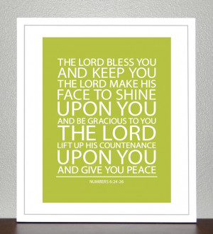 Baptism Gift - Bible Verse - Numbers 6 ( Green Apple ) - 8x10 Print. $ ...