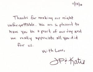 thank you thank you thank you you made our wedding