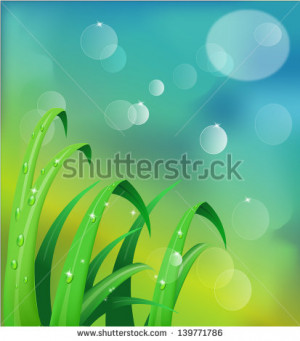 Fresh morning dew on spring grass in sunrise, natural background ...