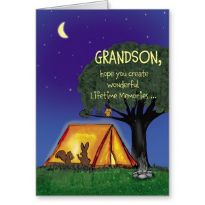 Summer Camp - Miss you - Grandson Card