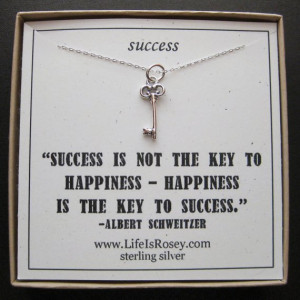 QUOTE CARD - KEY TO SUCCESS - Sterling Silver Necklace - A LIFE IS ...