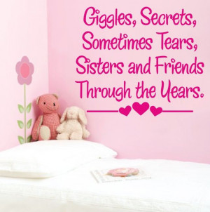 SISTER wall art quote best friends huge bedroom sisters transfer quote ...