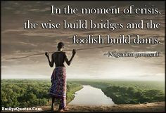 EmilysQuotes.Com - crisis, wise, bridge, foolish, dam, wisdom, mistake ...
