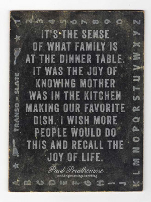 ... the dinner table with his family take a moment to appreciate the sense