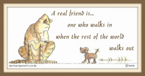 Spiritual Quotes About Friendship A real friend is one who walks