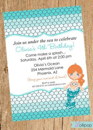MERMAID Printable Birthday Invitation, Mermaid under the Sea ...