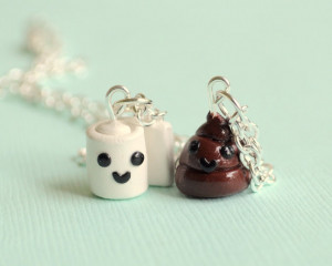 Kawaii Toilet Paper and Poop Charm Best Friend Necklaces