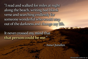 "Inspirational Quote: ""I read and walked for miles at night along the ..."