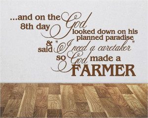 God Made A Farmer - Farming - Vinyl Wall Decals Stickers Quotes - Man ...