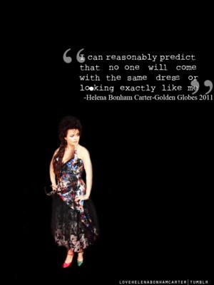 ... Helena Bonham Carter Golden Globes Quote via love helena bonham carter
