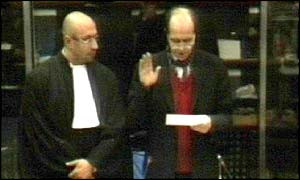 Kosovo President Ibrahim Rugova is sworn in at the tribunal