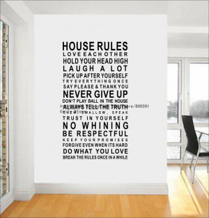 ... Wall Quote House Rules Wall Sticker Vinyl Pattern Livingroom Sticker