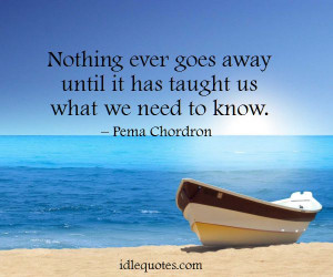 Nothing ever goes away until it has taught us what we need to know ...