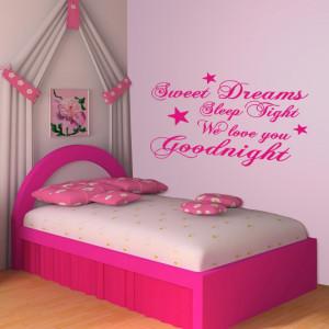 Pink Sweet Dreams Sleep Tight v2 wall decal above a crib