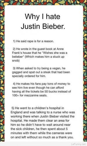 Reasons why I hate Justin Bieber…
