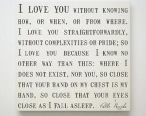 Romantic Pictures With Quotes In Spanish Pablo neruda quote canvas,