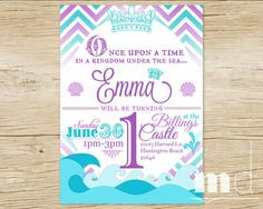 Little Mermaid Invite, Mermaid invitation, Customized Disney Birthday ...