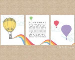 Somewhere over the Rainbow Print / Nursery Artwork, 3 Print Set ...
