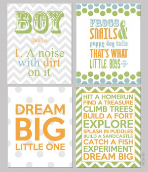 Boys Nursery Quote Wall Art Room Decor PRINT SET FOUR by ofCarola, $50 ...