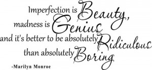 Marilyn Monroe Wall Decal Quote Vinyl Imperfection Is Beauty 2 Living