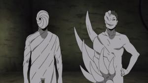 Zetsu Blanc avec Guruguru surveillant le rétablissement d'Obito.