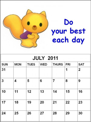 ... this Free children or kids Planner June 2011 Calendar with quotes