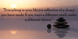 Everything in your life is a reflection of a choice