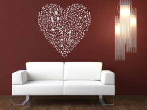 Musical Heart Music Notes Wall Stickers Wall Art Decal Transfers