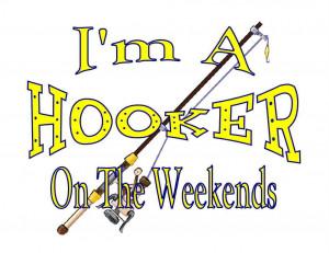 ... Shirt-Hooker-On-Weekends-Womens-Fishing-Pole-Funny-Humorous-NWOT
