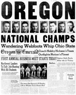 Mar. 27, 1939 - 1st NCAA Men's Basketball Championship – Oregon ...