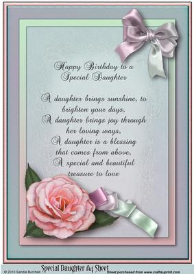 Special Daughter 'happy Birthday' A4 Sheet with Verse by Sandie ...