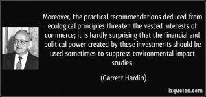 Moreover, the practical recommendations deduced from ecological ...