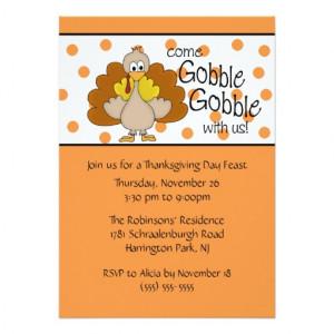 ... Gobble, Gobble Thanksgiving Dinner Party 5x7 Paper Invitation Card