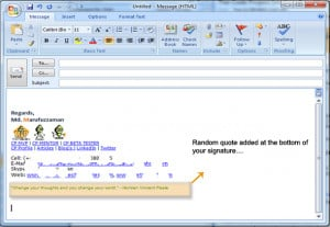... shows the output / randomly selected quote in your email signature